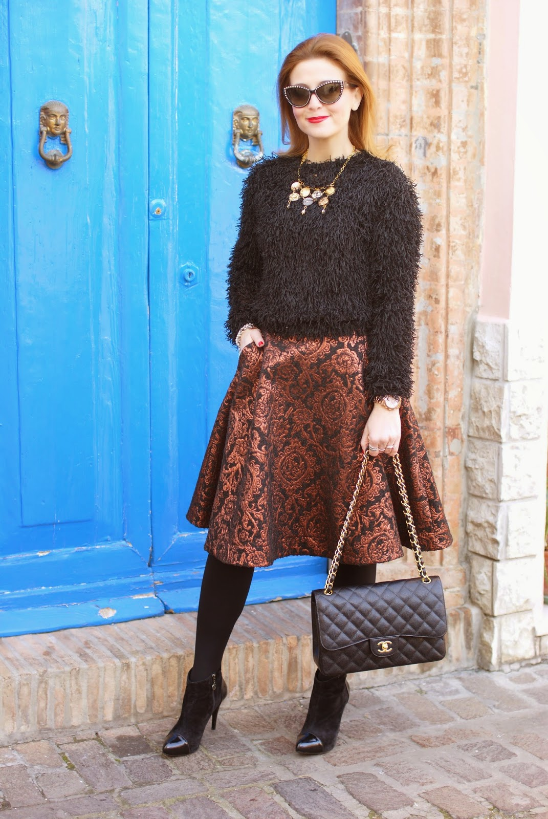 Fuzzy sweater, Asos metallic jacquard midi skirt, Chanel classic flap bag in caviar leather, vintage chanel buttons necklace, Fashion and Cookies, fashion blogger