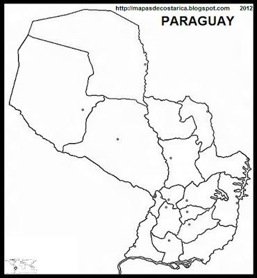 Mapa de la organización política de PARAGUAY, nombre de las regiones, blanco y negro