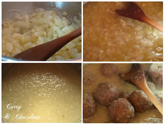 Albóndigas con salsa de cebolla y vino blanco