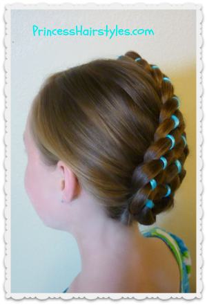 #updo diagonal stacked ribbon braids
