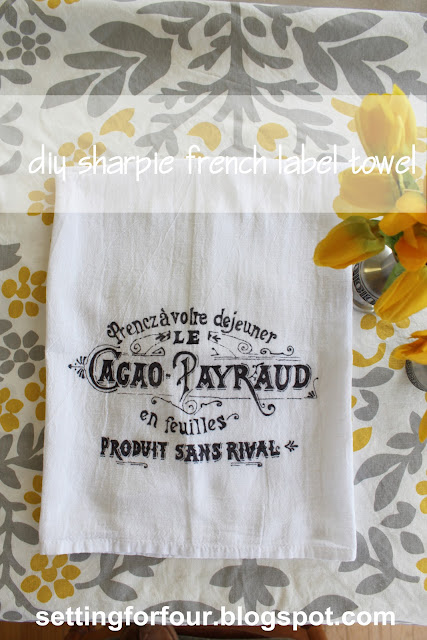 DIY Sharpie French Label Towel from Setting for Four #DIY #Tutorial #Gift #Sharpie #French #Graphic #Label