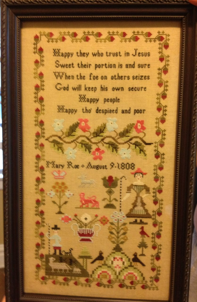 Mary Roe 1808 Reproduction Sampler Scarlett House Cross Stitch Pattern