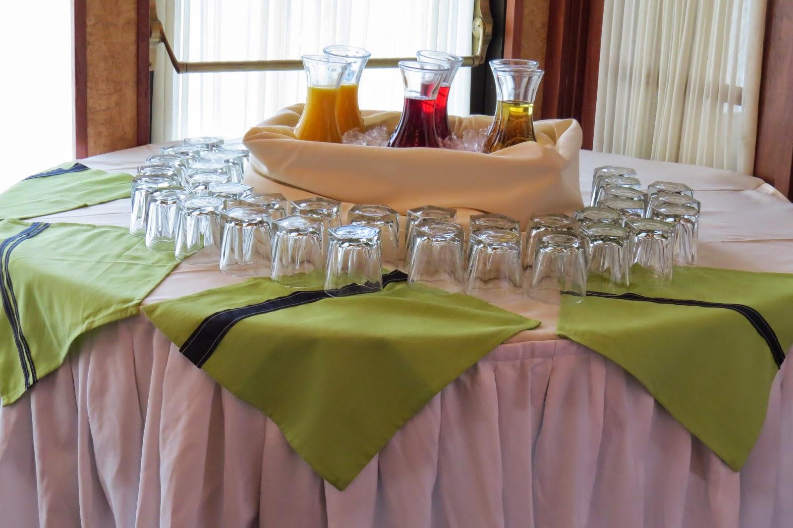 Table Decor, Napkins, Navy grosgrain ribbon, sew, white stitching