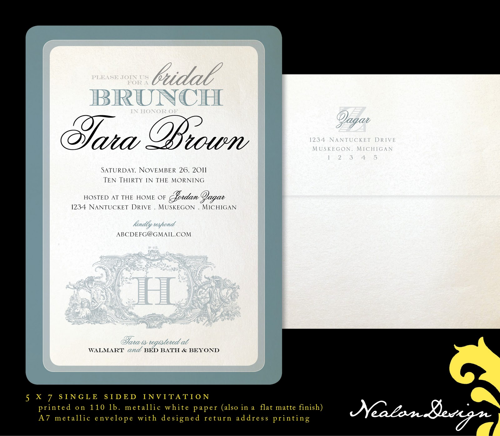 Nealon design bridal brunch wedding shower for Wedding brunch invitations