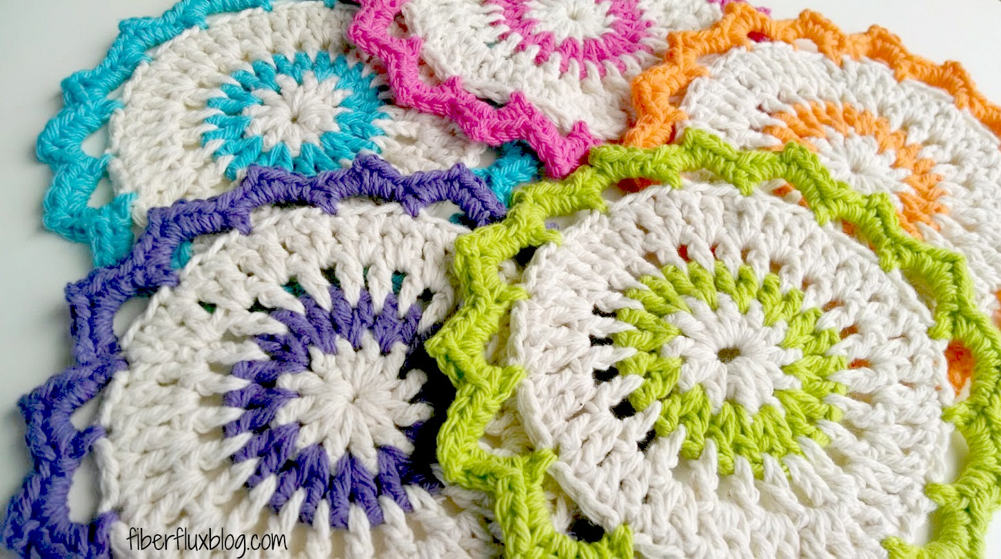 Crochet Patterns Dishcloths Free : Fiber Flux: Free Crochet Pattern...Lotus Bloom Dishcloths!