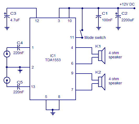 TDA1553 Car Stereo Amplifier Circuit | audio wiring diagram on car amplifier cable, car amplifier schematics, amplifier installation diagram, car amplifier fuse, car schematic diagram, pioneer deh 150mp instalation diagram, car amplifier adjustment, 4 channel car amplifier diagram, car amplifier wire, car amp diagram, car stereo installation diagram, car amplifier capacitor, car dvd wiring-diagram, car amplifier battery, car amplifier plug, amplifier block diagram, car sub wiring-diagram, car amplifier cooling, car starter wiring, car amplifiers product,