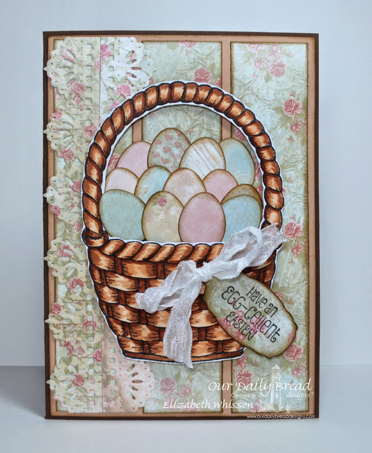 Elizabeth Whisson, Our Daily Bread Designs, ODBD, ODBDDT, handmade card, Copics, Basket of Blessings, Easter, eggs, beautiful borders dies, Mini Tags dies, ODBD Shabby Rose Paper Collection