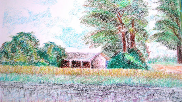 Scenery using oil pastel