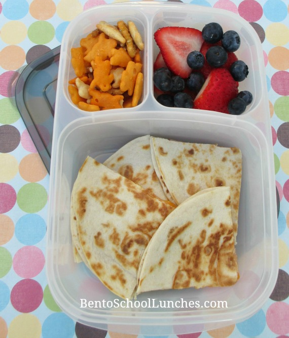 Quesadilla, bento school lunches