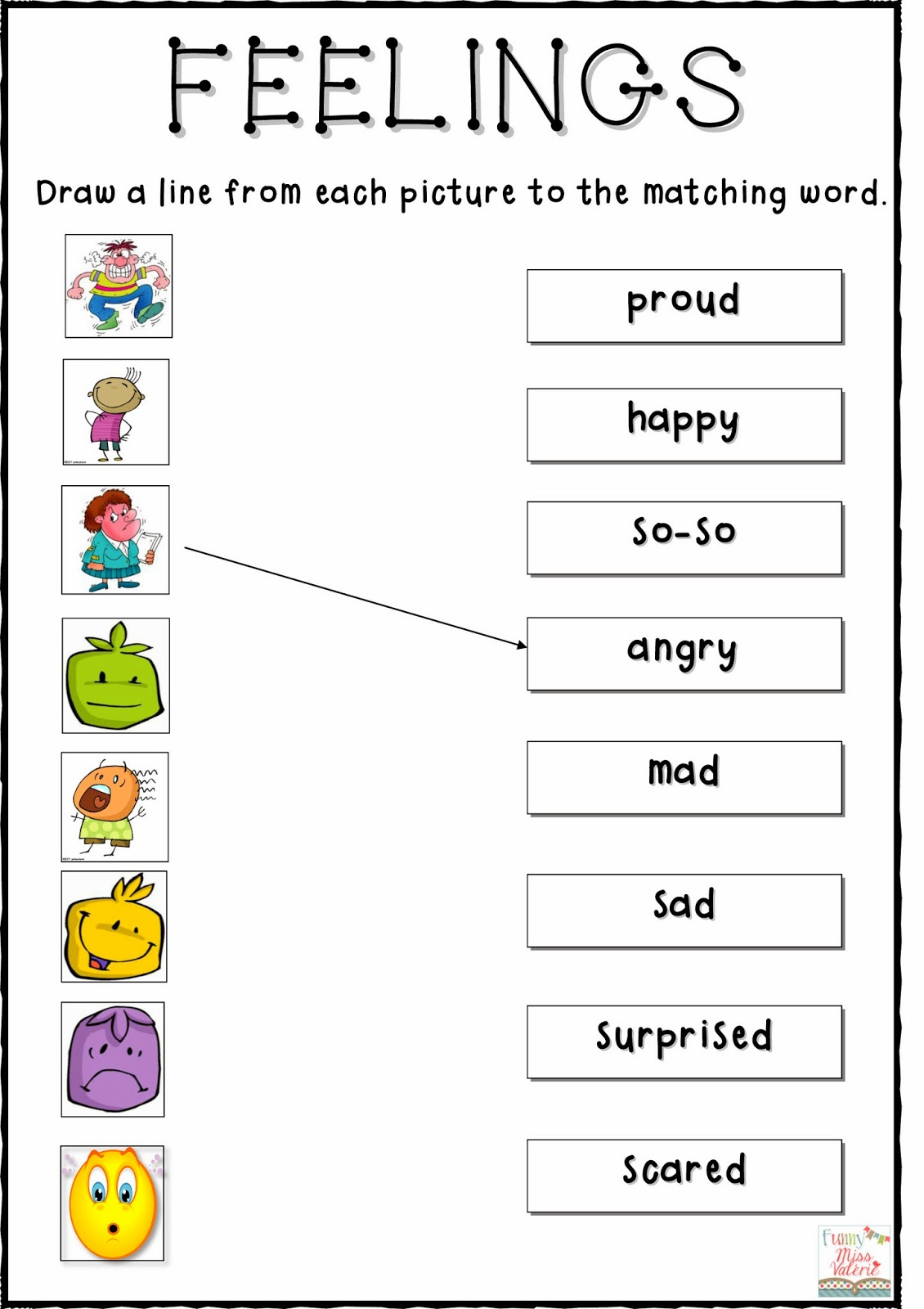 Candid image with feelings and emotions worksheets printable