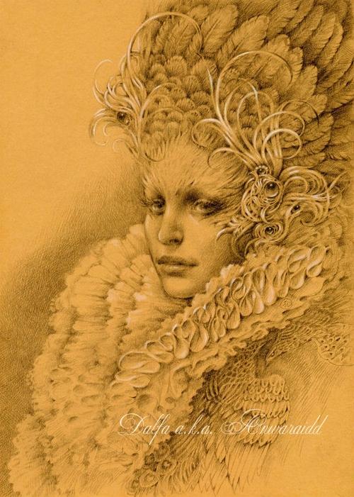 02-Golden-Feathers-Olga-Anwaraidd-Drawings-Fantasy-Portraits-Imaginary-Characters-www-designstack-co