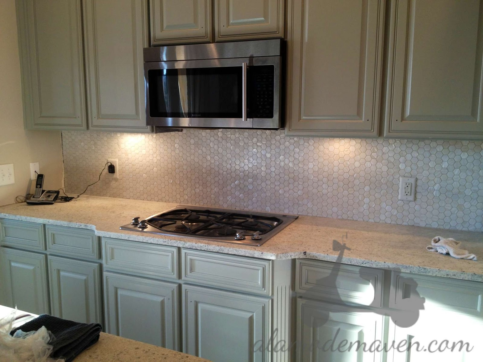 Alamode the new kitchen tile backsplash the hexagonal mother of pearl tile is from artistic tile who makes some gorgeous tile my friends i especially love their water jet designs dailygadgetfo Images