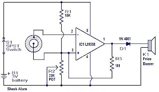 Shock alarm circuit
