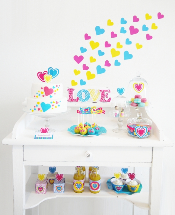 Valentine's Day Party Ideas: Modern Pink, Teal and Yellow Art Inspired Valentine's Day Desserts Table