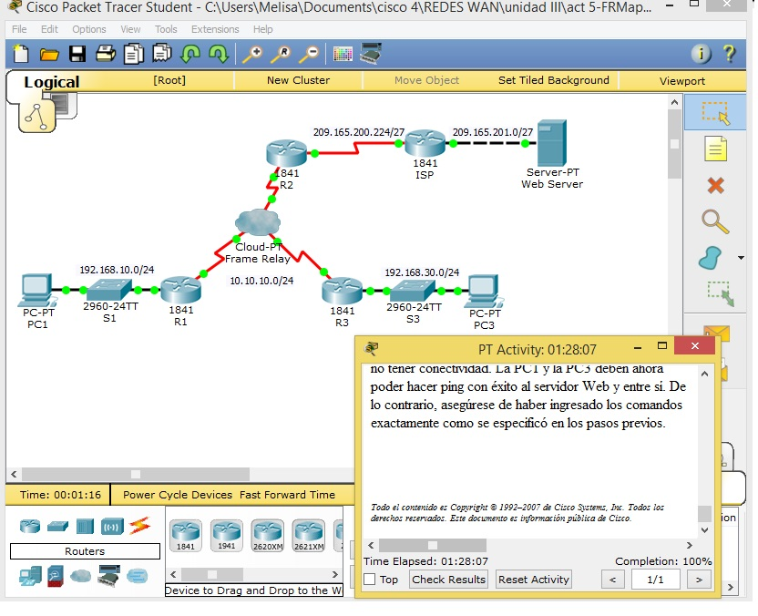 REDES WAN: Actividad 5 Frame Relay Mapas Estaticos
