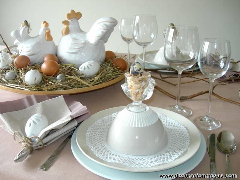 Decoracion de mesas mesa pascua en tonos naturales for Decoracion pascua