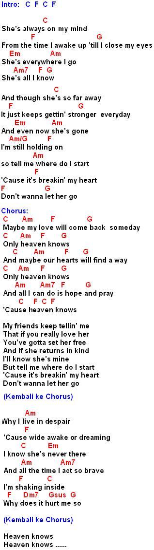 Heaven Knowsrick Price Lirik Dan Chord Gitar Mynotepat