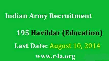 Indian Army Havildar Recruitment 2014