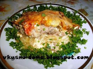 Куриные бёдрышки по-французски  на картофельной подушке