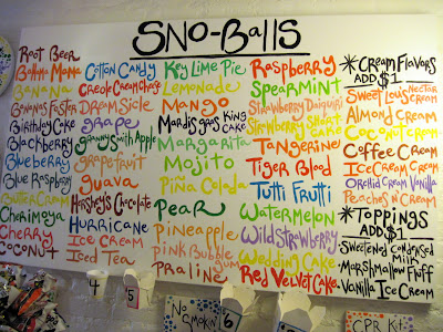 The menu at Imperial Woodpecker Sno-Balls lists all kinds of New in New York treats