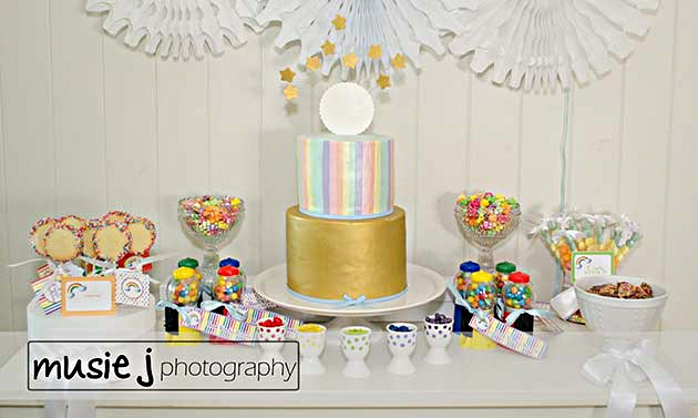 An Elegant Adult Rainbow Party Desserts Table