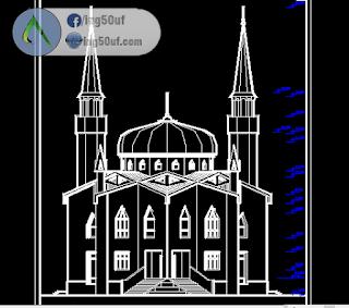 مخطط مسجد dwg