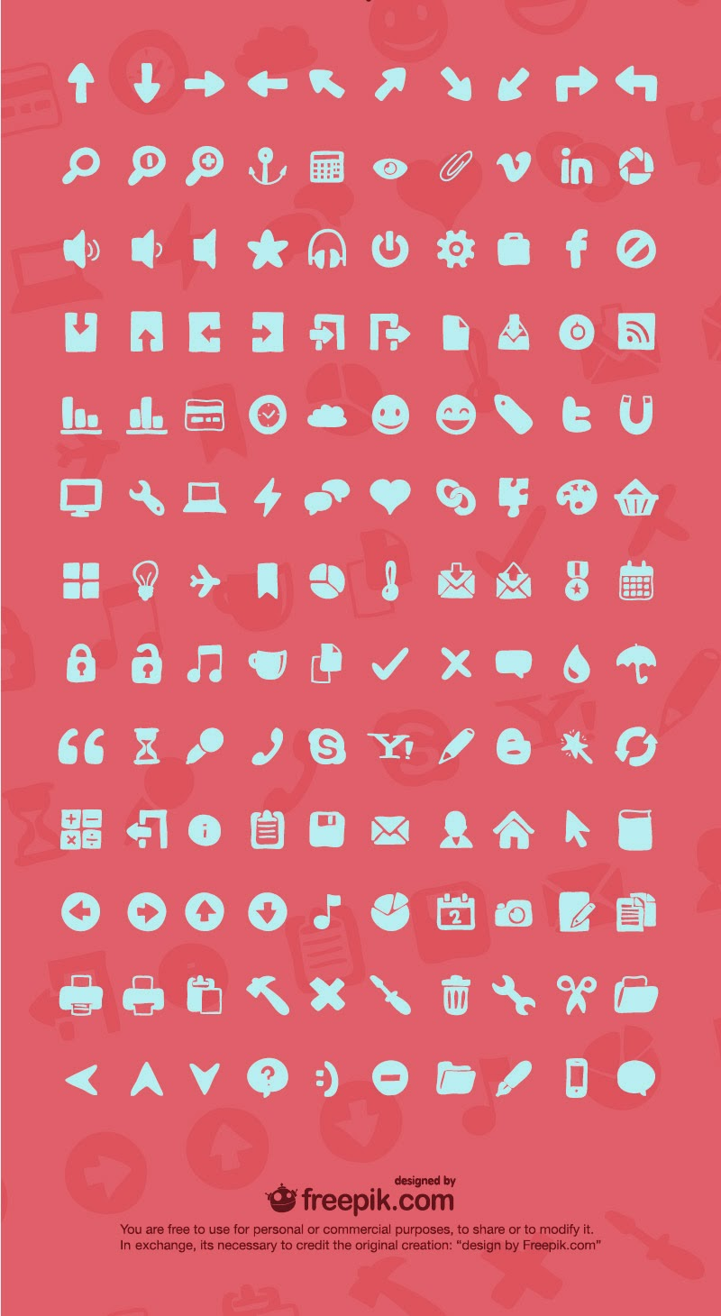 Free 130 Hand-Drawn Interface Icons