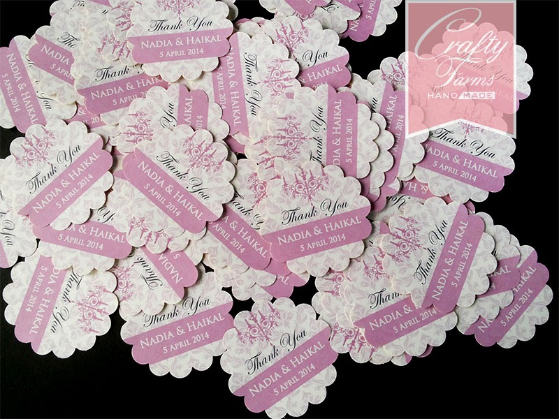 Walimatul Urus, wedding favour, thank you sticker