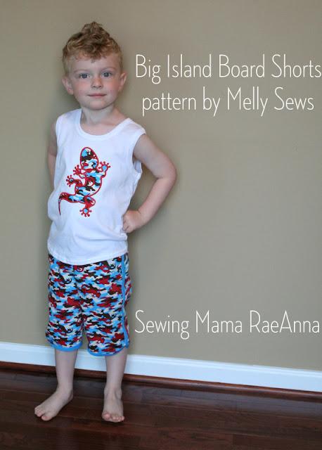 Big Island Board Shorts sewn by Sewing Mama RaeAnna
