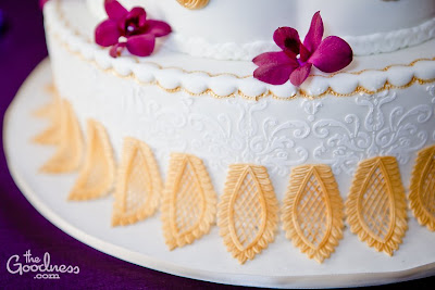 Sweet Cakes by Rebecca - white lace and gold detail wedding cake