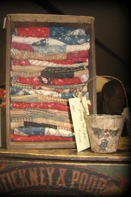 Wooden Crate of Antique Quilts
