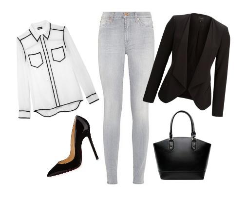 vaquero gris, blusa blanca, blazer, bolso y salones negros