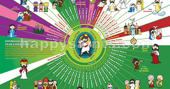 happy saints  liturgical calendar 2016 12 x 18 poster prints