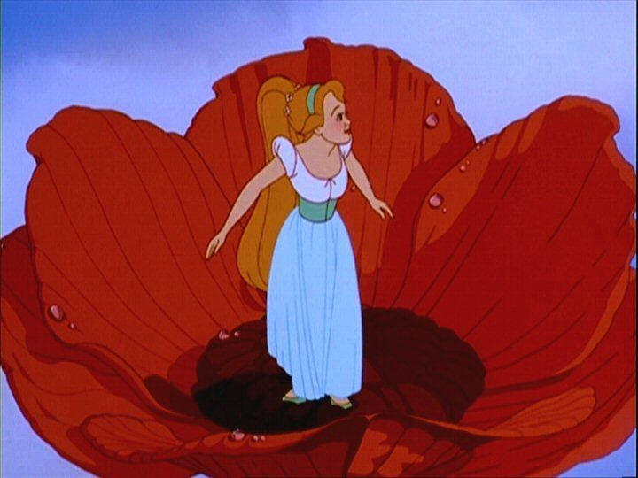 Emerging from the rose Thumbelina 1994 disneyjuniorblog.blogspot.com