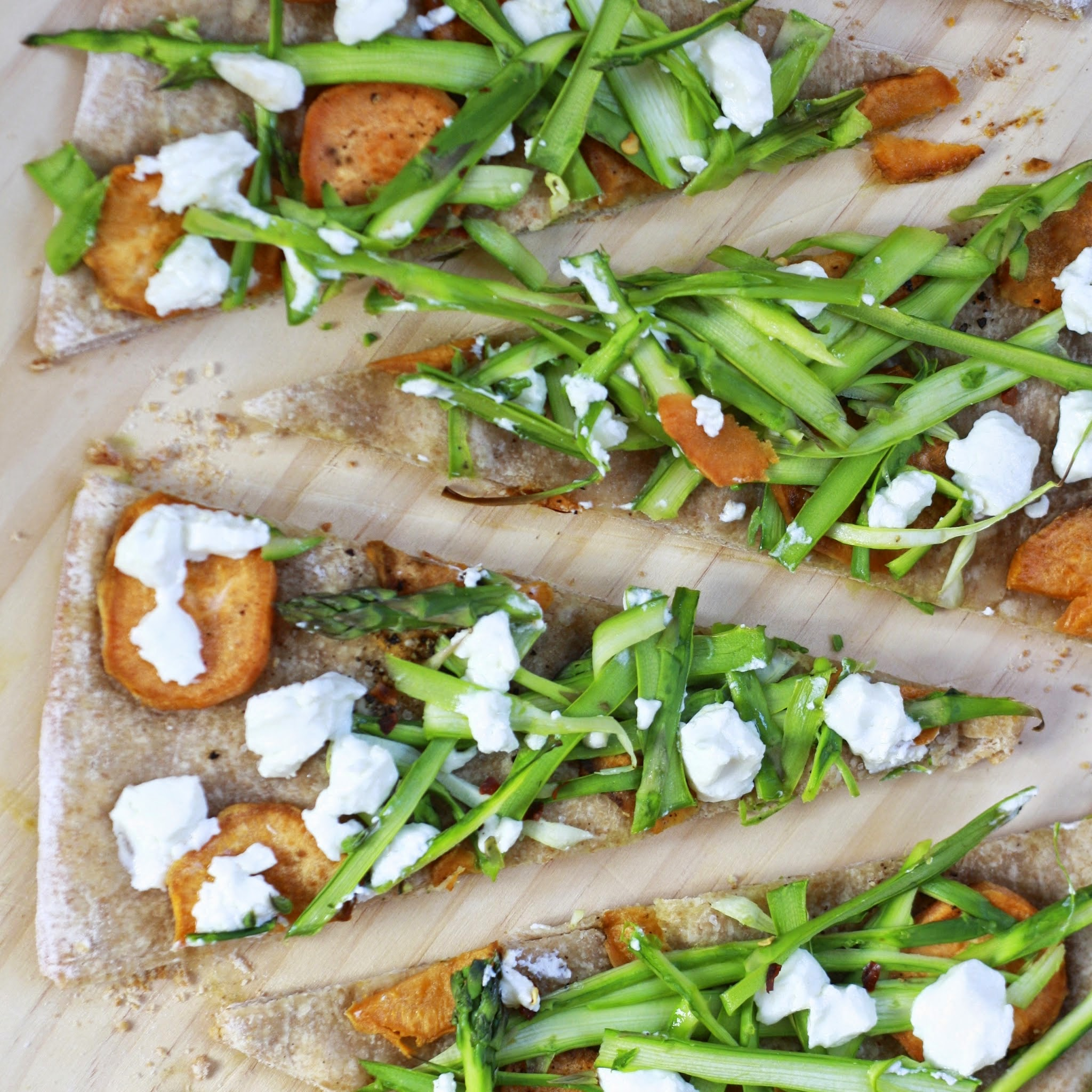 Sweet Potato Asparagus Flatbread with Goat Cheese