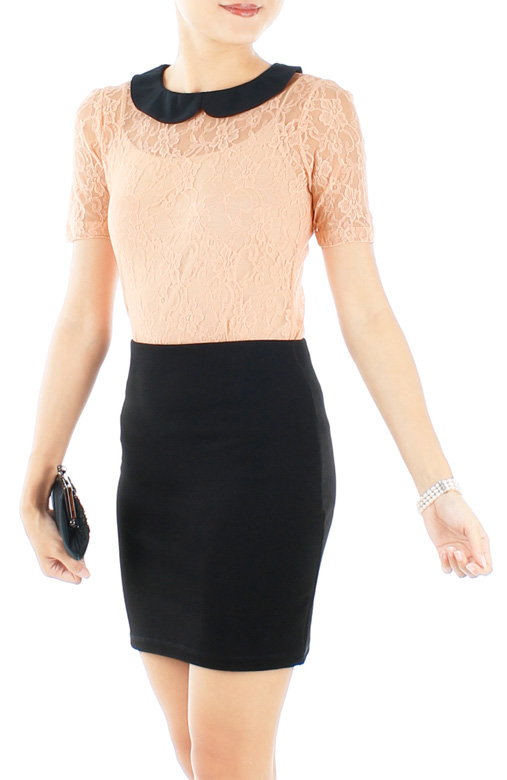Light Orange Mesh & Lace Overlay Blouse with Button Back Detail