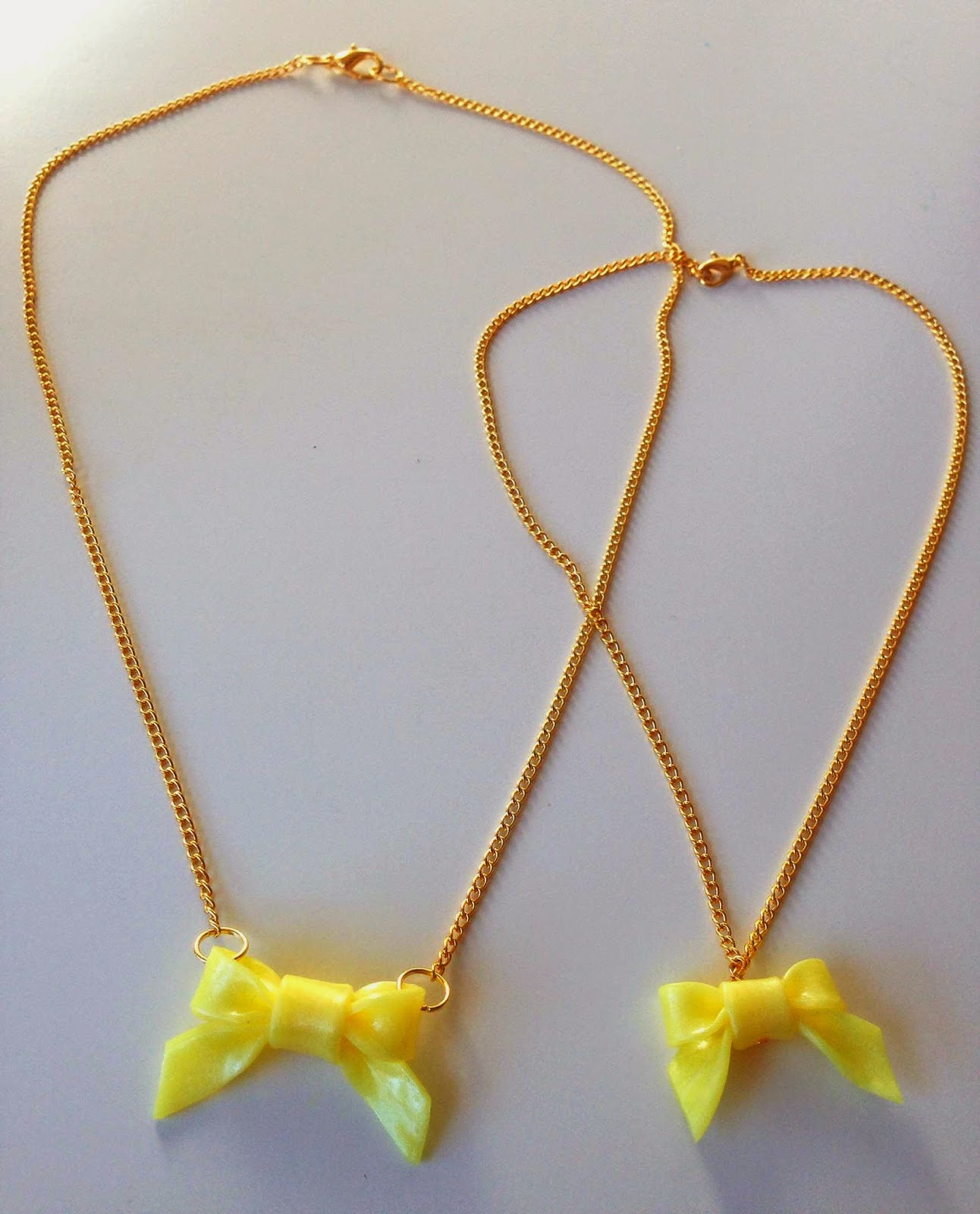 "Collares ""Me & mini Me"" Lazo Amarillo NM Designs"