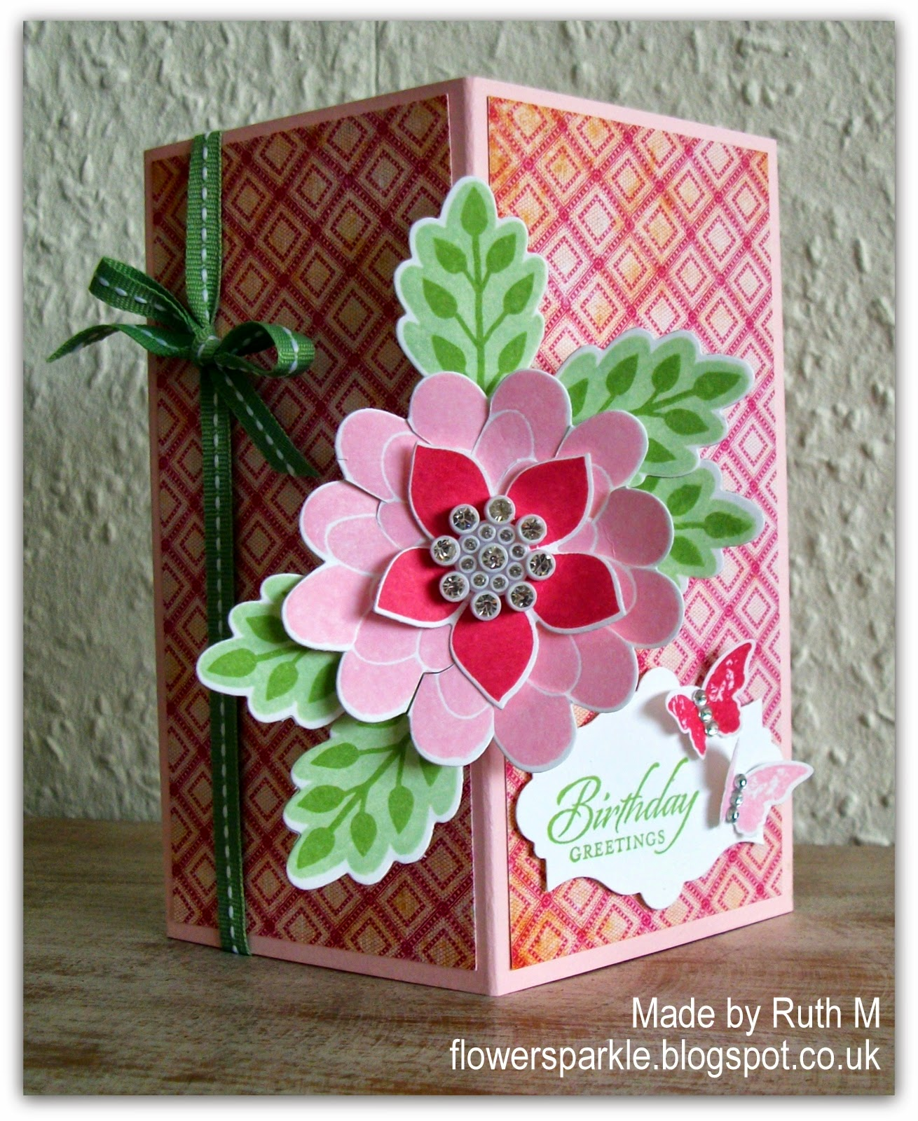 Flower Sparkle Floral Floating Front Birthday Greetings Card