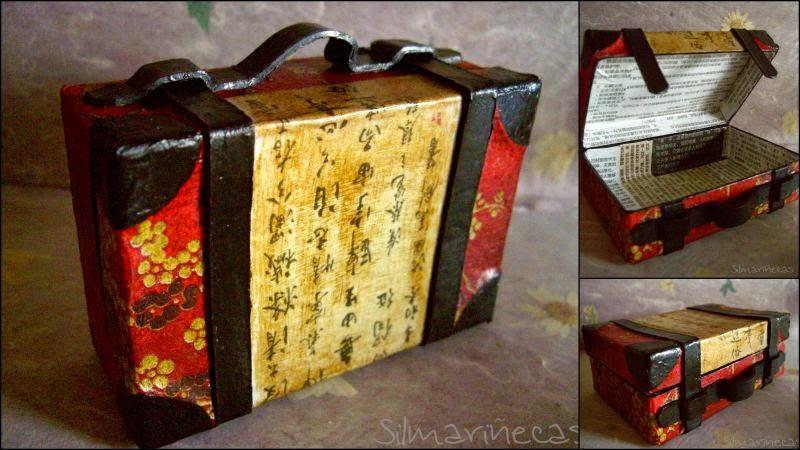 cómo decorar una maletita de cartón con aires orientales
