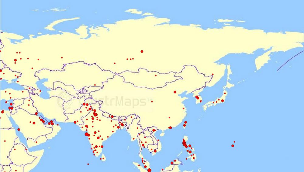 Big Map Of Asia: Big Map Of Asia At Slyspyder.com