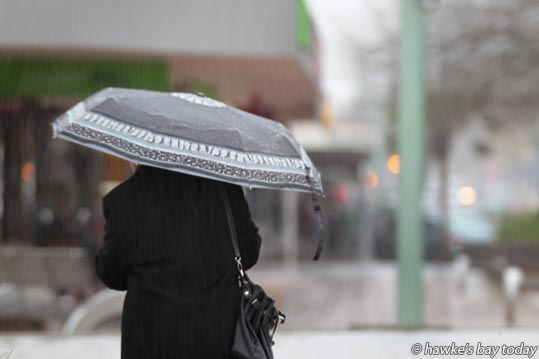 Umbrellas in Hastings CBD, Hastings - Wet weather, rain, drizzle in Hastings photograph