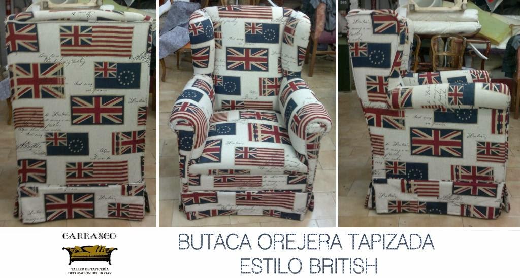 Tapiceria en Asturias. Butaca bandera inglesa.