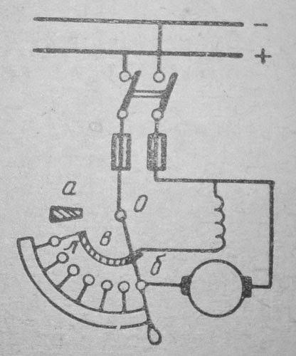 Принципиальная схема присоединения к сети двигателя параллельного возбуждения