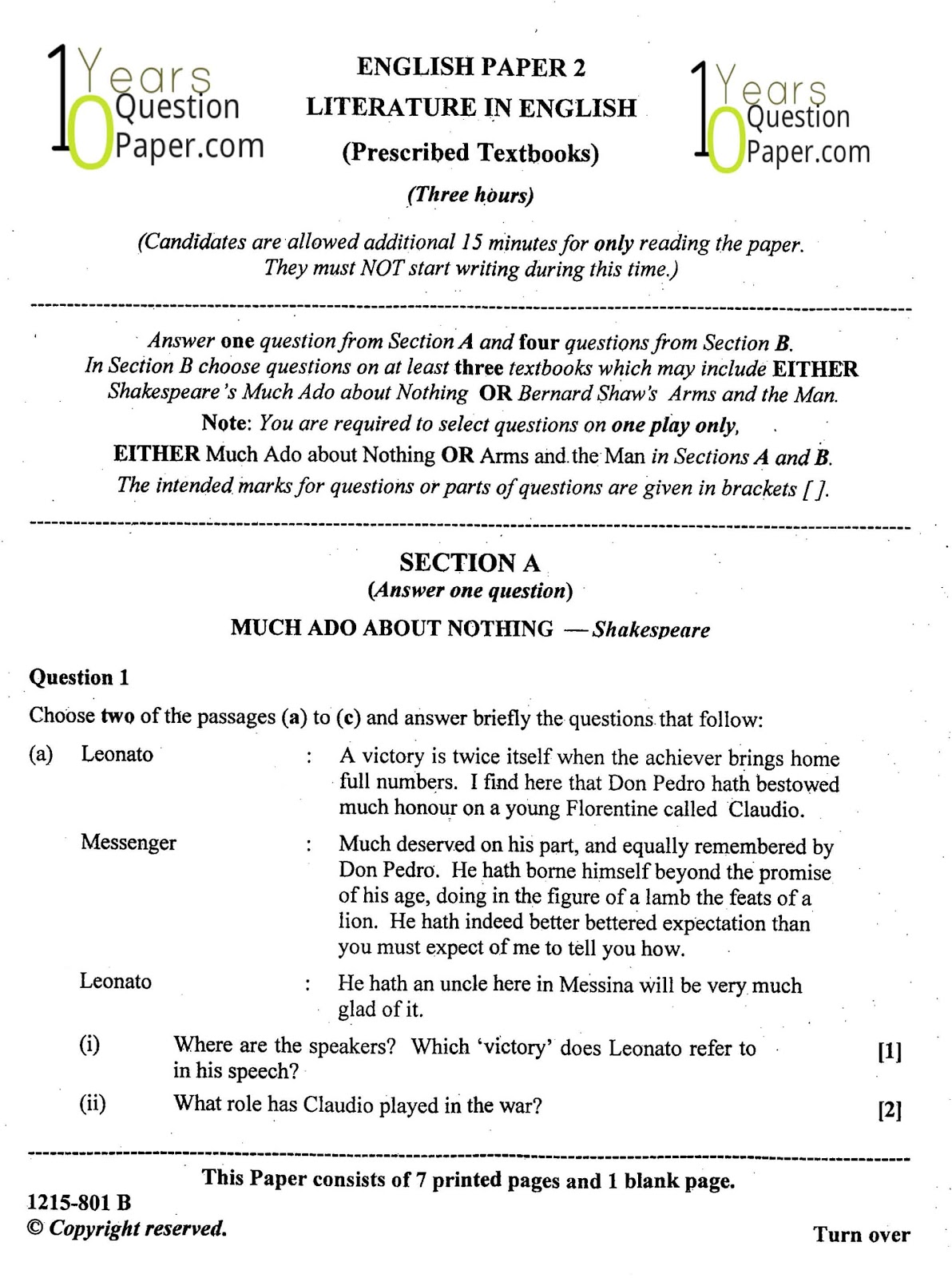 paper about literature isc class th english literature question paper years question paper