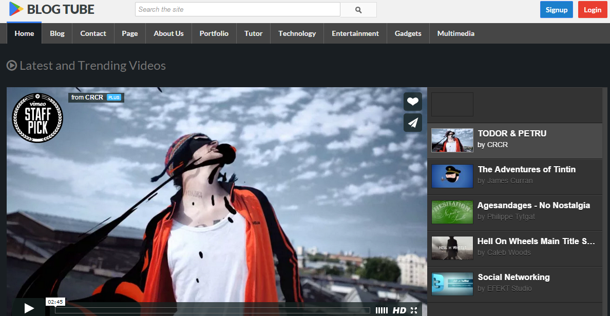 Download BlogTube Professional Video Free Blogger Template