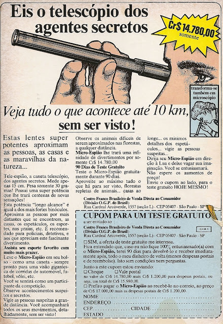 Propaganda de um telescópio espião para jovens e crianças que prometia um alcance de 10 km de distância.