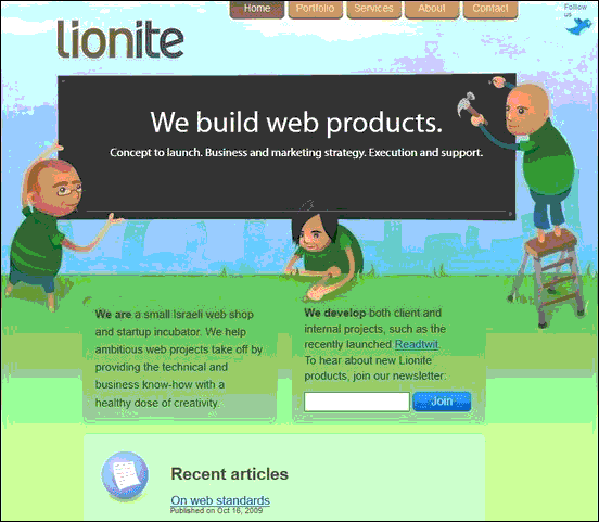Lionite - Website design using drawings and illustration