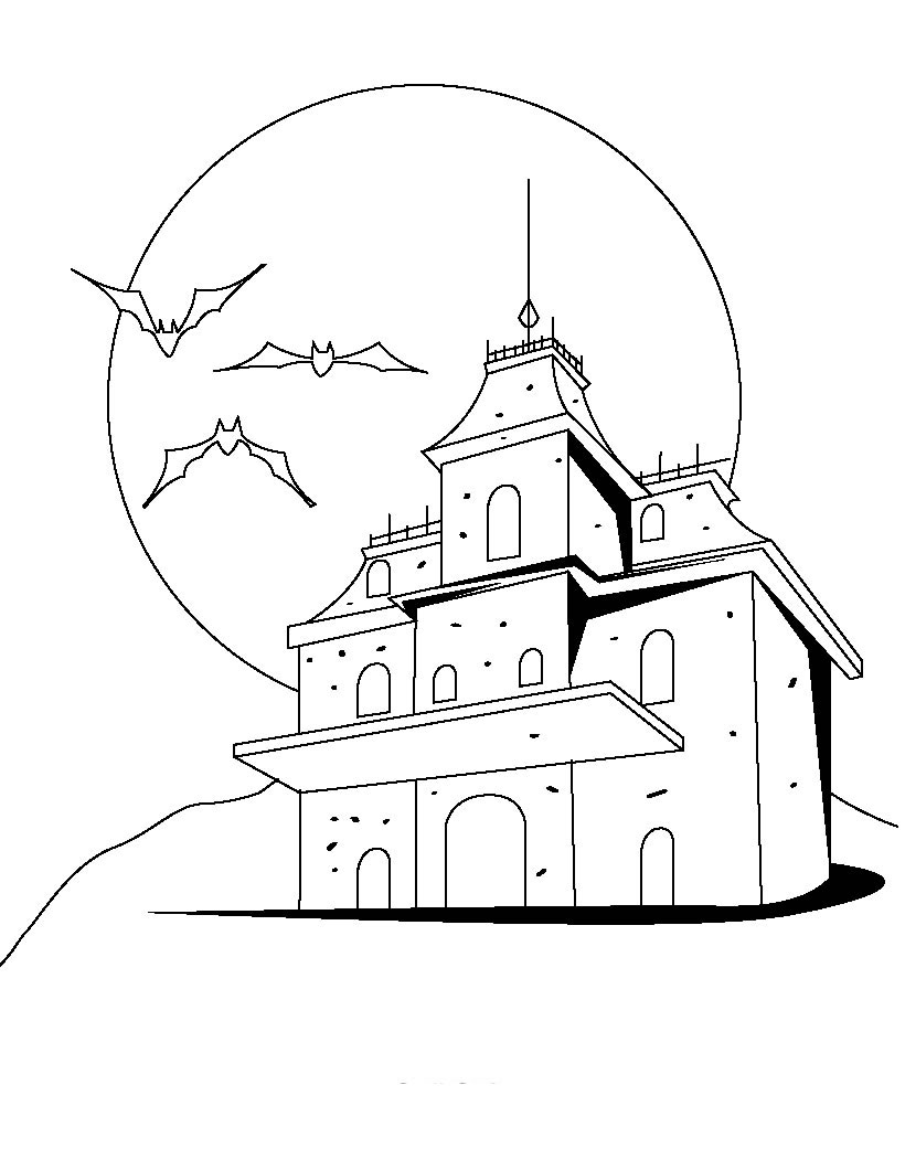 scary halloween house coloring pages - photo#24