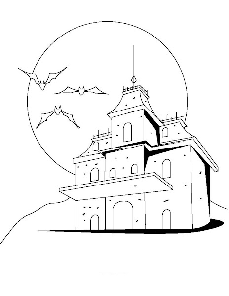 Scary halloween witch coloring pages for Halloween house coloring pages