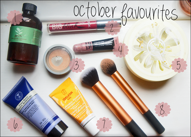 October Favourites from Priti, Pur Minerals, BodyShop, Neals Yard Remedies, Weleda & Real Techniques